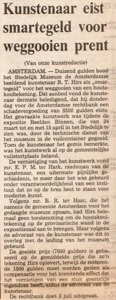 Krant smartegeld Stedelijk